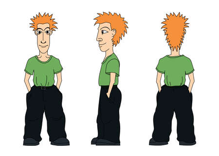 man back view: There are three views of young man: face, side view, back. Younker has a green t-shirt and black trousers.