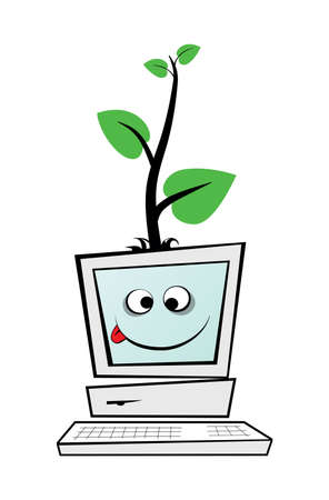 bionomics: Old computer with green tree is isolated on white background.