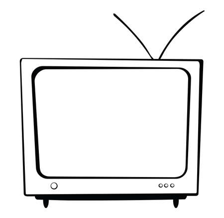 There is a big TV with an antenna and with buttons. Illustration