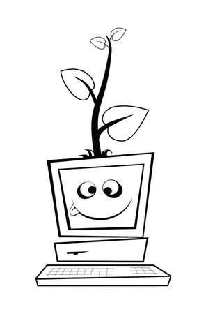 若い木で古いコンピューターは、白い背景に分離されます。