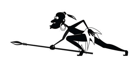 aborigine: There is a creeping aborigine with a spear and a earring to hunt.