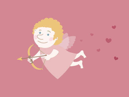 Flying cupid with a golden arrow and surrounded by hearts Vector