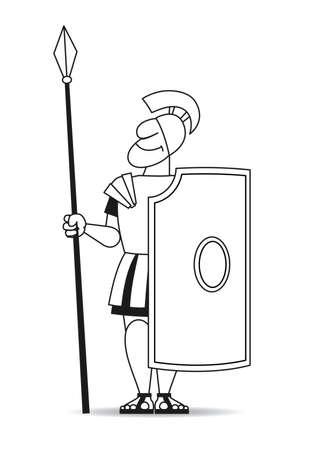 古代の戦士で、パイクと盾鎧。  イラスト・ベクター素材
