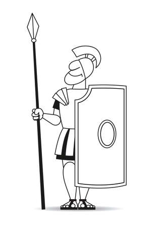 secluded: There is an ancient warrior in armor with a pike and a shield. Illustration
