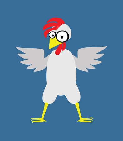 赤いとさかを持つ大きな鶏は、白い背景に分離されます。