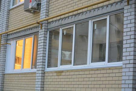 balconies: glazing loggia with pvc windows Stock Photo