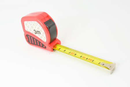 lineman: red plastic roulette with yellow scale and white texture Stock Photo