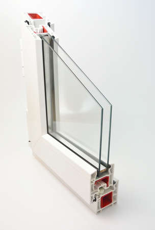 rubber gasket: pvc profile window sash with double glazing Stock Photo