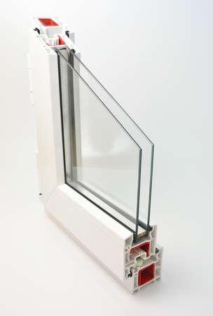 double glazing: pvc profile window sash with double glazing Stock Photo