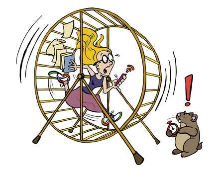 Young woman running out of time inside of the hamster wheel job. Stock Illustratie