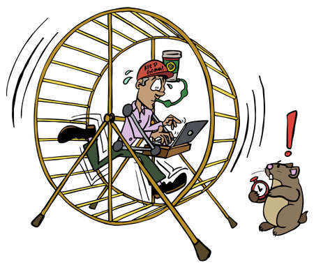 Leitender Arbeiter im Hamsterrad-Job