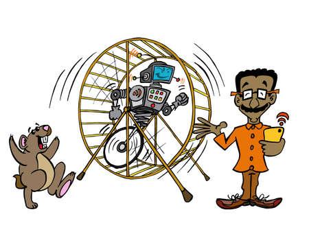 IT-Mann und Automatisierung eines Hamsterrad-Jobs dank künstlicher Intelligenz.
