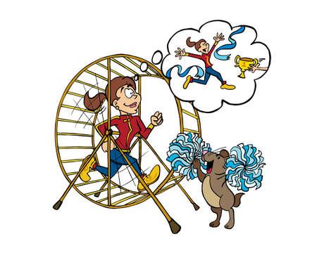 Junge Frau, die als Training in einem Hamsterrad läuft. Vektorgrafik