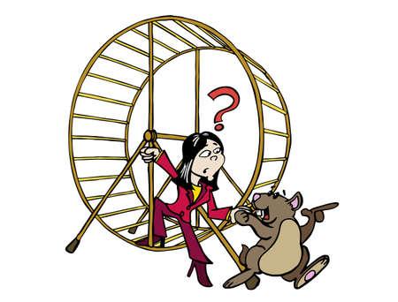 Junge Asiatin bekommt unseren Job im Hamsterrad.