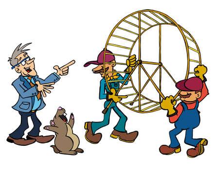 Bertrand moving away the hamster wheel Stock Illustratie