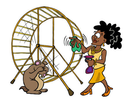 Josephine czyści kołowrotek dla chomika lub strefę komfortu