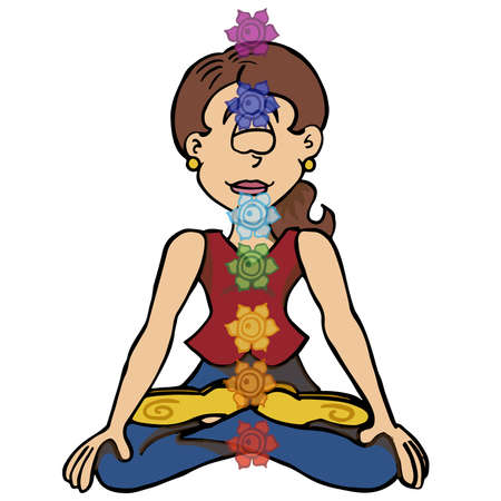 Character Sophie sitting down in lotus position with a line of chakras.