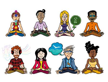 Ocho personajes sentados en posición de loto y meditando.