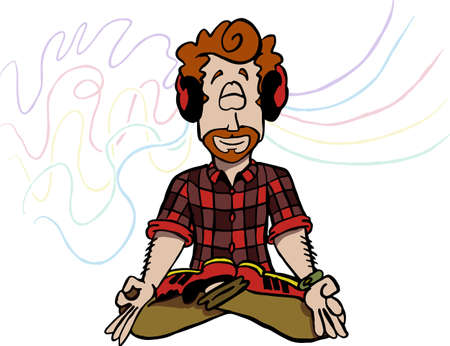 Character Mark sitting in Lotus position and meditating. Illustration