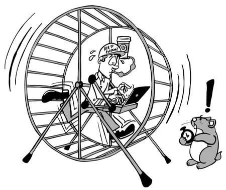Junge Führungskraft in seinem Hamsterrad-Job