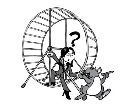 Young Asian woman stepping out of the hamster wheel