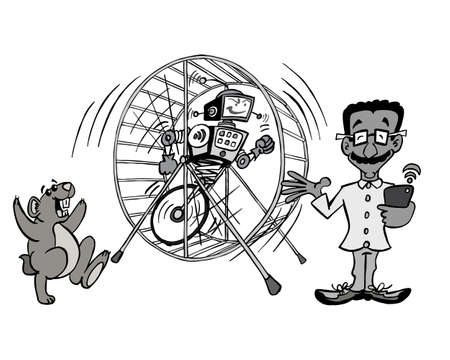 IT guy working on automation of the hamster wheel Standard-Bild - 126796867