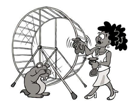 Young woman cleaning her hamster wheel - black and white Standard-Bild