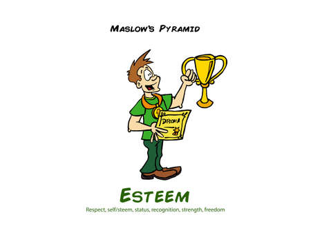 Man holding a trophy representing the self esteem level of the Maslow pyramid