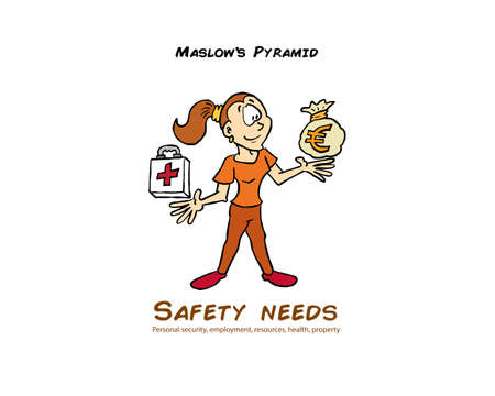 Woman with money bag representing the safety level of the Maslow pyramid