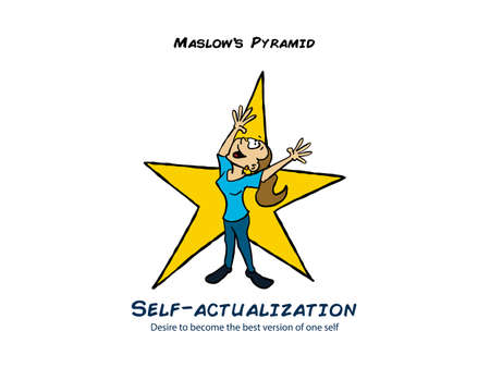 Woman celebrating to represent the self-actualization level of the Maslow pyramid Illustration