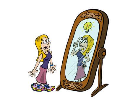 Junge blonde Frau, die ihre Kreativität im Spiegel betrachtet