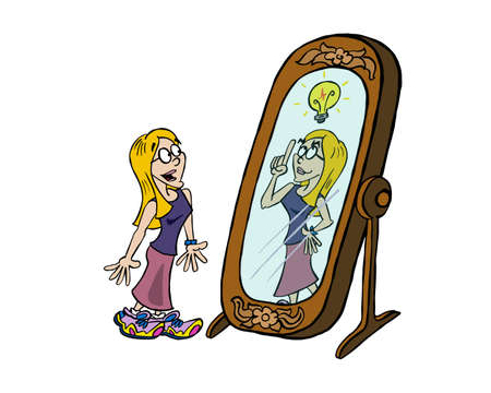 Young blond woman looking at her creativity in the mirror