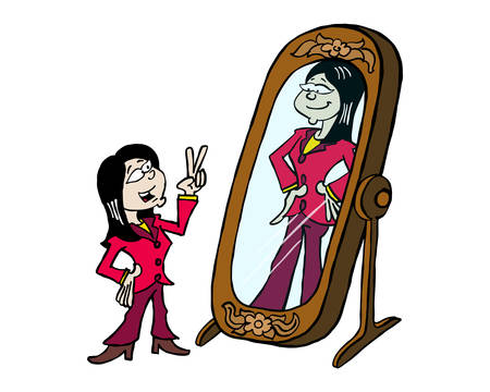Young Asian woman looking at her greatness in the mirror