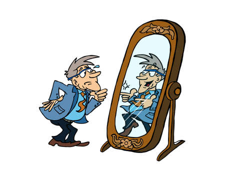 Senior man looking at his energized self in the mirror 版權商用圖片 - 127709385