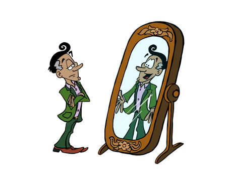 Sceptic man looking at himself in the mirror and how open can he be