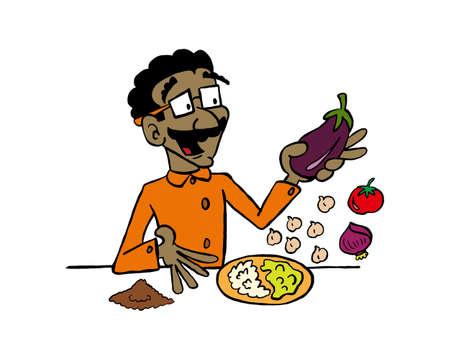 Vegan dishes - eggplant puree Çizim