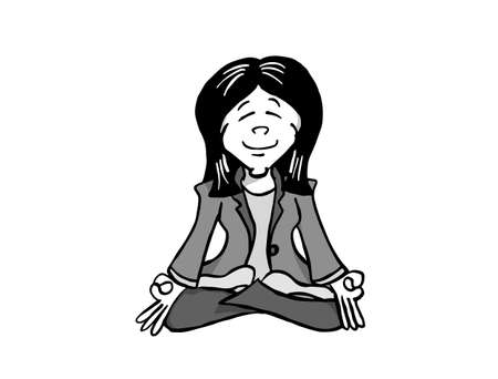 Character Ji sitting in Lotus position and meditating.