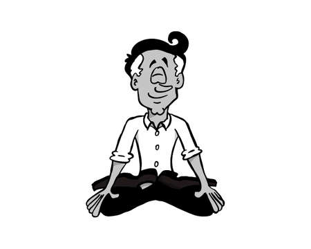 Character Manuel sitting and practicing mindfulness.