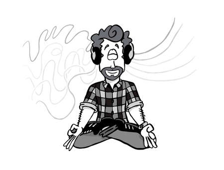 Character Mark sitting in Lotus position. 版權商用圖片