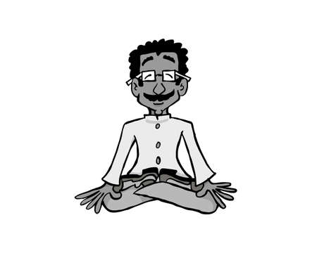 Character Raj sitting in Lotus position and meditating. 版權商用圖片