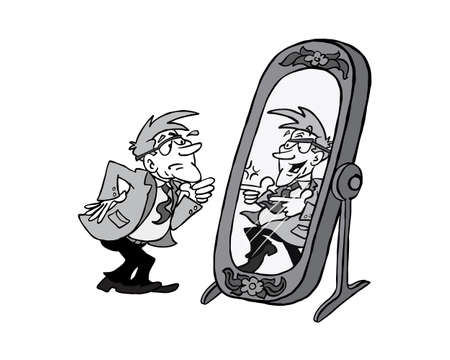 Senior character looking at himself full of energy in the mirror 版權商用圖片