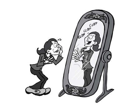 Young business woman giving herself praise in the mirror