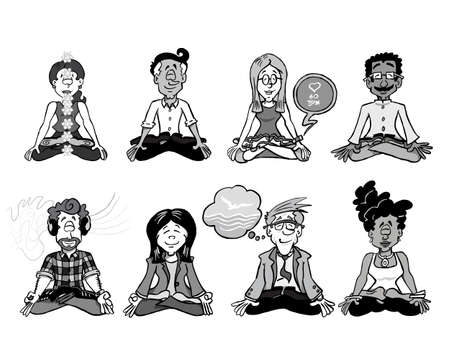 Collection of eight characters sitting down in meditation.