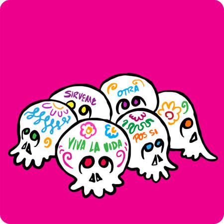 Sugar skulls Mexico day of the dead Illustration
