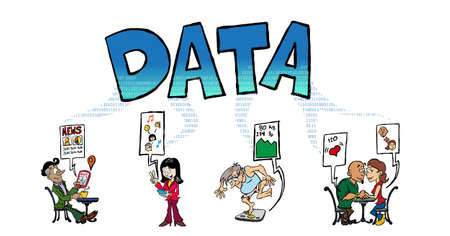Big data generated by dating, chatting, health control, etc Vecteurs