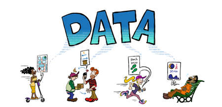 Big Data generated by transportation, exercise, purchasing, etc Stock Illustratie