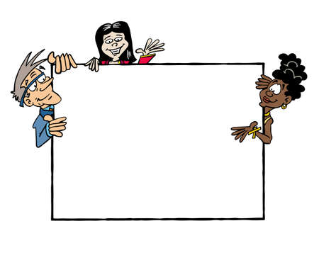 Frame Josephine, Ji, Bertrand. Multicultural group holding a blank frame Zdjęcie Seryjne