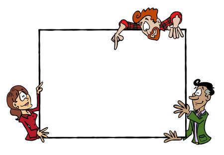 Frame Sophie, Manuel and Mark. Multicultural group holding a blank frame
