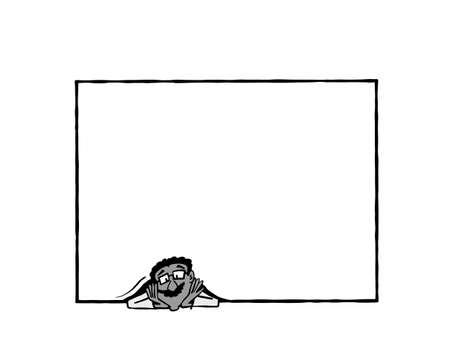 Frame Raj BW. Indian man holding a blank frame Zdjęcie Seryjne