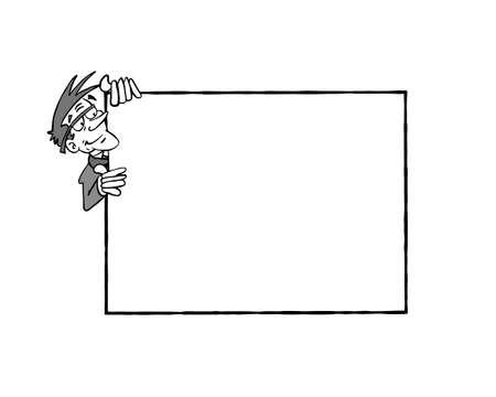 Frame Bertrand BW. White senior man holding a blank frame Stockfoto